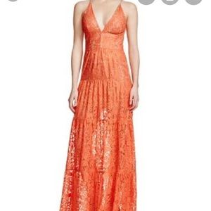 Dress The Population Coral Melina lace maxi dress